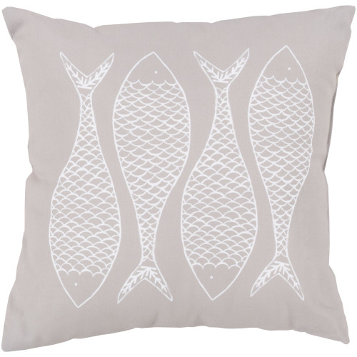 """26"""" Brown and White Fish Printed Square Throw Pillow Cover - IMAGE 1"""