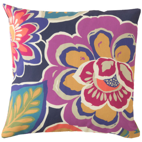 "20"" Pink and Red Floral Square Throw Pillow Cover - IMAGE 1"