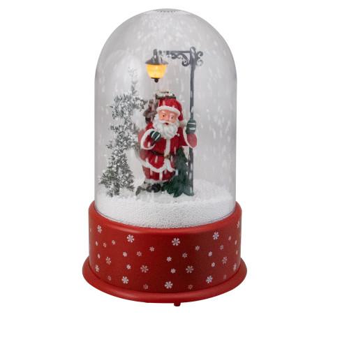 "11.75"" Lighted Santa with Street Light Snowing Christmas Globe - IMAGE 1"