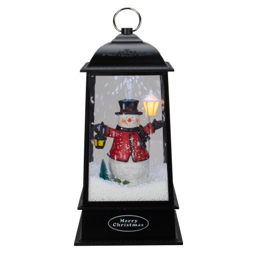 "13"" Lighted Snowman Christmas Lantern with Falling Snow - IMAGE 1"