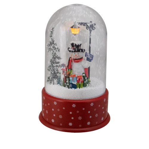 """11.75"""" Lighted Snowman with Street Light Snowing Christmas Globe - IMAGE 1"""