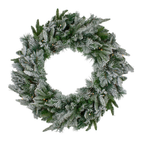 Pre-Lit Flocked Mixed Colorado Pine Artificial Christmas Wreath - 30-Inch, Warm White LED Lights - IMAGE 1