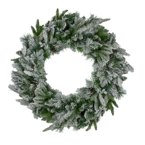 Flocked Mixed Colorado Pine Artificial Christmas Wreath - 30-Inch, Unlit - IMAGE 1