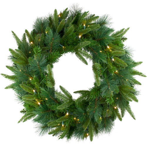 Pre-Lit Green Mixed Rose Mary Emerald Angel Pine Artificial Christmas Wreath - 30-Inch, Clear Lights - IMAGE 1