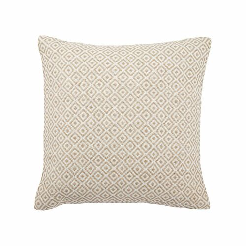 """22"""" Brown and White Geometric Square Throw Pillow - IMAGE 1"""