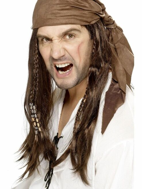 """26"""" Brown Buccaneer Pirate Men Adult Halloween Wig Costume Accessory - One Size - IMAGE 1"""