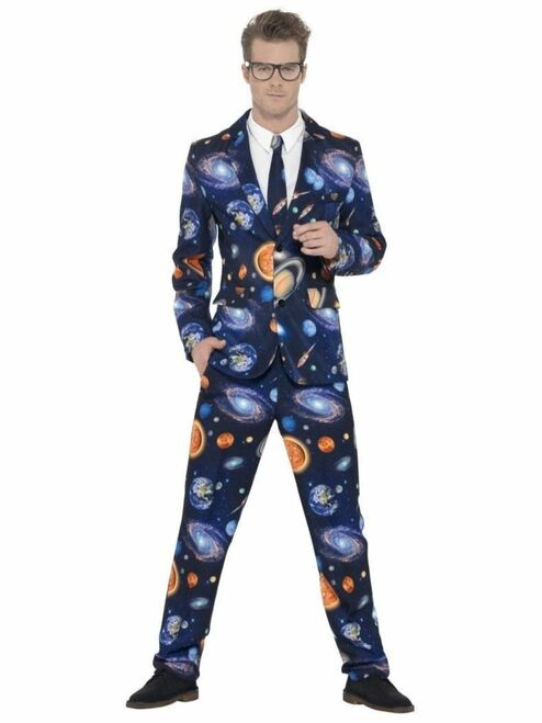 "38.5"" Navy Blue Space Stand Out Suit Men Adult Halloween Costume - Large - IMAGE 1"