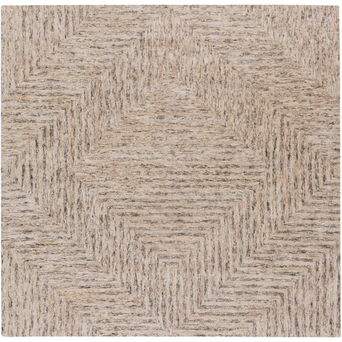 8' x 8' Geometric Ivory and Brown Square Area Throw Rug - IMAGE 1