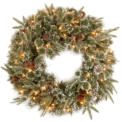 Pre-Lit Liberty Pine Artificial Christmas Wreath - 24-Inch, Clear Lights - IMAGE 1
