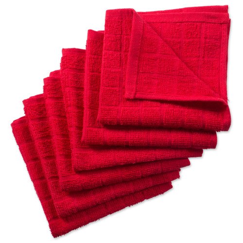 """Set of 6 Red Solid Windowpane Squared Dishcloths 12"""" x 12"""" - IMAGE 1"""