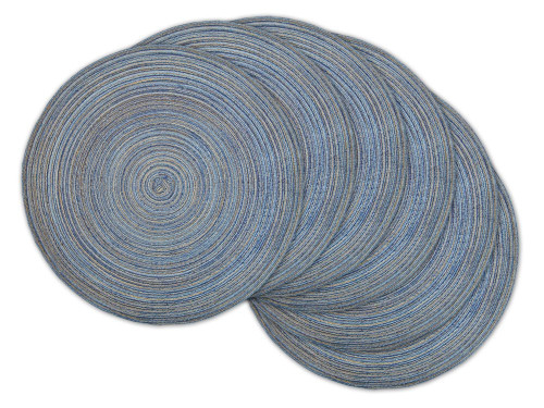 """Set of 6 Variegated Blue Round Woven Placemats 15"""" x 15"""" - IMAGE 1"""