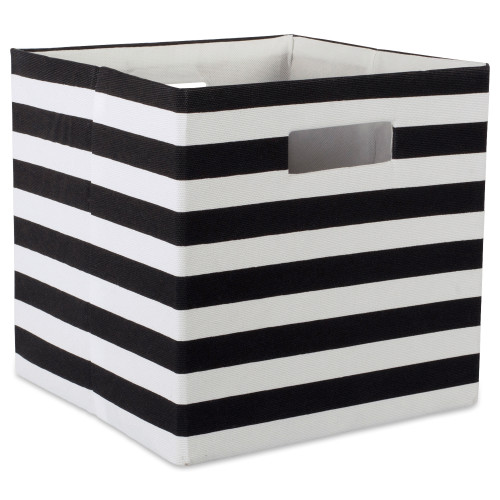 "11"" Black and White Stripe Patterned Square Storage Bin - IMAGE 1"