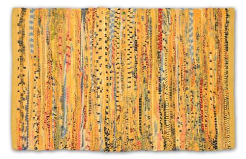 """48"""" x 72"""" Mustard Yellow Reversible Rectangular Rag Rug - IMAGE 1"""