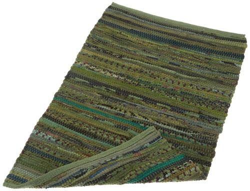 "19.5"" x 31.5"" Olive Green Reversible Rectangular Rag Rug - IMAGE 1"
