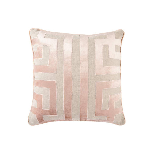 """22"""" Pink and Beige Geometric Square Throw Pillow - IMAGE 1"""
