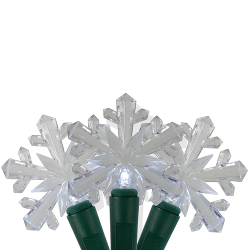 25 White Snowflake LED Micro Christmas Lights - 8 ft Green Wire - IMAGE 1