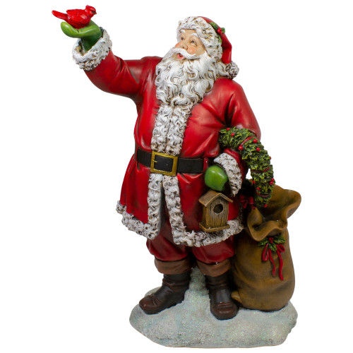 "31"" Santa Claus Holding Red Cardinal and Wreath Christmas Figurine - IMAGE 1"