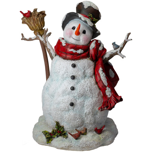 """19"""" Snowman with Broom, Birds and Holly Christmas Tabletop Figurine - IMAGE 1"""