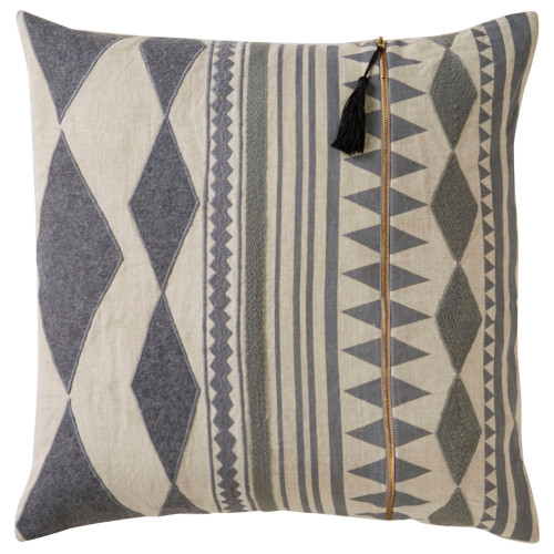 """22"""" Beige and Gray Geometric Square Throw Pillow - IMAGE 1"""
