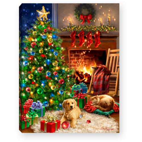 """8"""" Green and Red Christmas Pets Lighted Table Decor - IMAGE 1"""