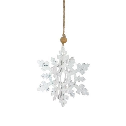 "7"" White and Brown Hanging Christmas Snowflake Ornament - IMAGE 1"