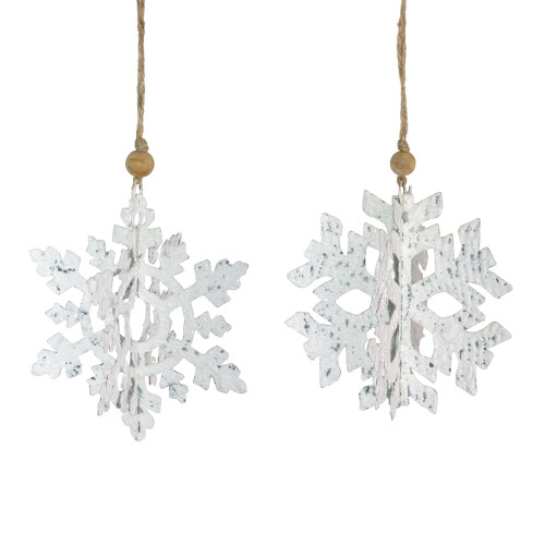 """7"""" White and Brown Glittered Snowflake Hanging Christmas Ornament - IMAGE 1"""