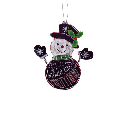 """9.5"""" Black and White Hanging Snowman Christmas Wall Plaque - IMAGE 1"""