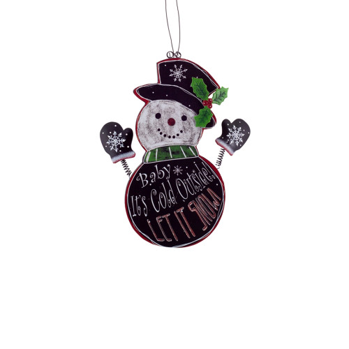 """9.5"""" Black and Red Hanging Snowman Christmas Wall Plaque - IMAGE 1"""