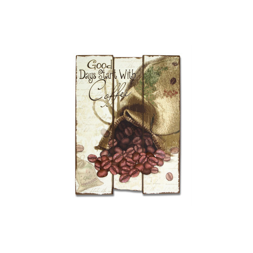 """21"""" Ivory and Brown """"Good Days Start With Coffee"""" Coffee Bean Wall Plaque - IMAGE 1"""