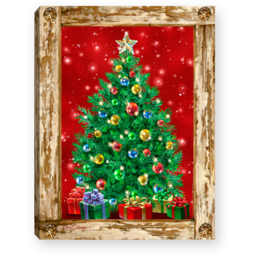 """8"""" Green and Red Christmas Tree Lighted Table Decor - IMAGE 1"""