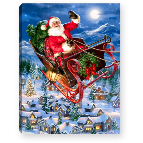 """8"""" Red and Blue Christmas Santa and Sleigh Lighted Tabletop Decor - IMAGE 1"""
