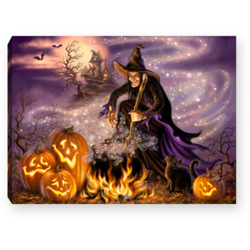 "8"" Purple and Orange All Hallow's Eve Lighted Halloween Tabletop Decor - IMAGE 1"