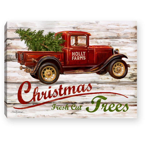 """8"""" Green and Red Truck """"Chrishtmas Fresh Cut Trees"""" Lighted Table Decor - IMAGE 1"""