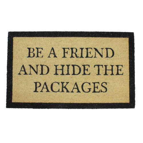 "Beige and Black Rectangular ""Hide The Packages"" Doormat 30"" x 18"" - IMAGE 1"