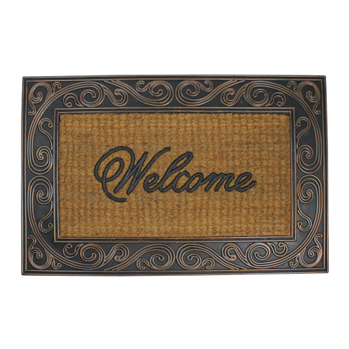 "Brown and Black Swirled Rectangular Welcome Doormat 35"" x 23"" - IMAGE 1"