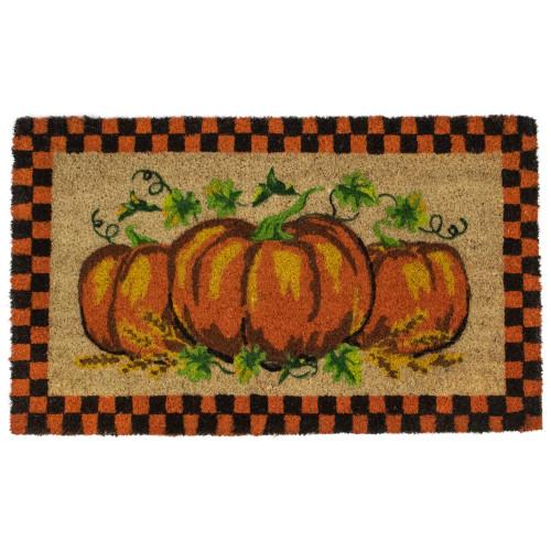 "Orange and Black Checkered Fall Harvest Pumpkin Doormat 18"" x 30"" - IMAGE 1"
