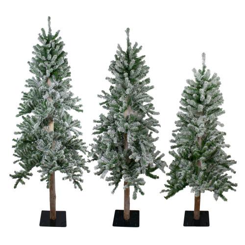Set of 3 Slim Flocked Alpine Artificial Christmas Trees 6' - Unlit - IMAGE 1
