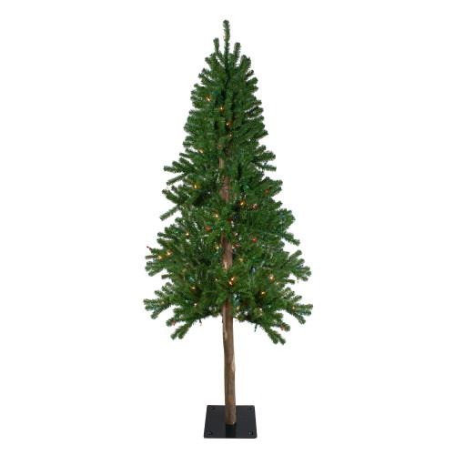 6' Pre-Lit Medium Alpine Artificial Christmas Tree - Multicolor Lights - IMAGE 1