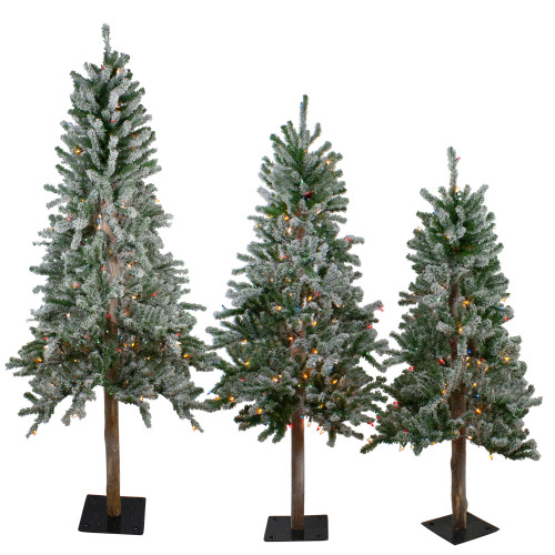 Set of 3 Pre-Lit Slim Flocked Alpine Artificial Christmas Trees 6' - Multicolor Lights - IMAGE 1
