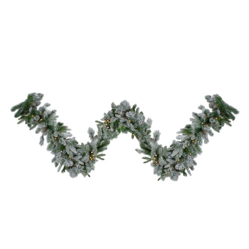 "9' x 14"" Pre-Lit Flocked Mixed Colorado Pine Artificial Christmas Garland - Warm White LED Lights - IMAGE 1"