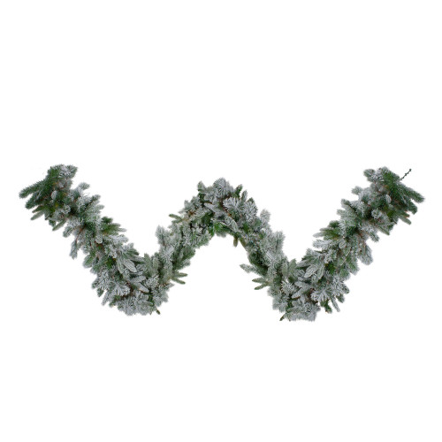 """9' x 14"""" Flocked Rose Mary Emerald Angel Pine Artificial Christmas Garland - Unlit - IMAGE 1"""