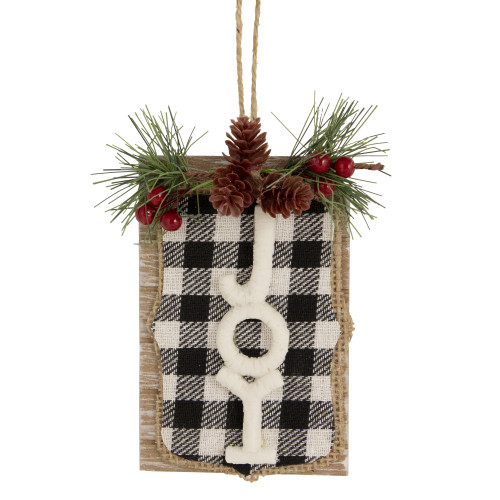 """4.75"""" Black and White Checkered Joy Sign Christmas Ornament - IMAGE 1"""