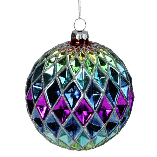 """2-Finish Vibrantly Colored Harlequin Glass Christmas Ball Ornament 3.75"""" (95mm) - IMAGE 1"""