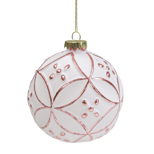 """Matte White and Pink Floral Glass Hanging Christmas Ball Ornament 3.75"""" (95mm) - IMAGE 1"""