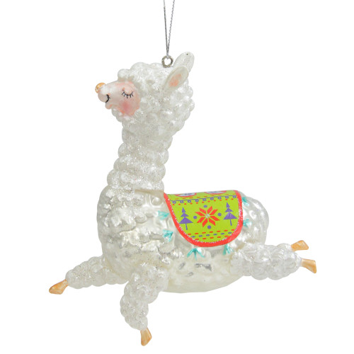 """5"""" White and Green Glittered Regal Jumping Llama Glass Christmas Ornament - IMAGE 1"""