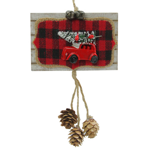 """7.5"""" Red and Black Door Sign Christmas Ornament - IMAGE 1"""