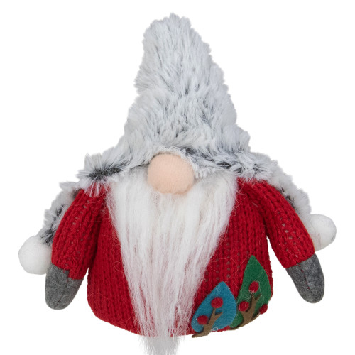 "6"" Plush Red and Gray Stuffed Christmas Gnome - IMAGE 1"