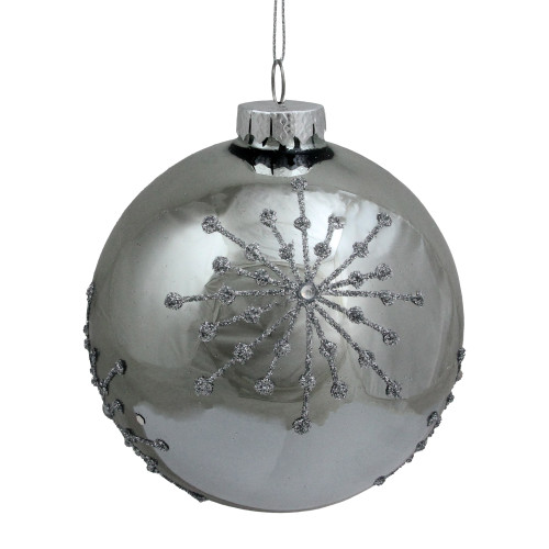 "Shiny Silver Mirrored with Glitter Snowflakes Christmas Ball Ornament 4"" (101mm) - IMAGE 1"