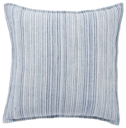 "22"" Blue and White Striped Square Throw Pillow - Down Filler - IMAGE 1"