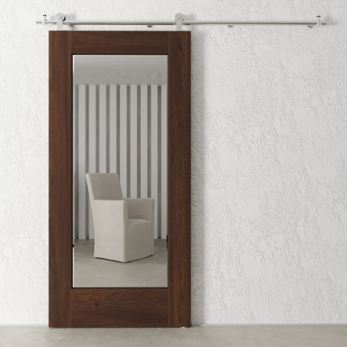 "83"" Brown and Silver Sliding Wood Mountain Stream Barn Door with Beveled Rectangular Mirror - IMAGE 1"